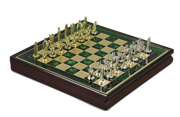 metal chess set wooden framed