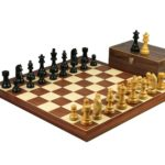 Executive Range Wooden Chess Set Mahogany Board 20″ Weighted Ebonised German Staunton Pieces 3.75″