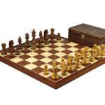 Executive Range Wooden Chess Set Mahogany Board 20″ Weighted German Staunton Pieces