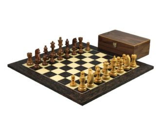 Executive Range Wooden Chess Set Tiger Ebony Board 20″ Weighted Sheesham German Staunton Pieces 3.75″