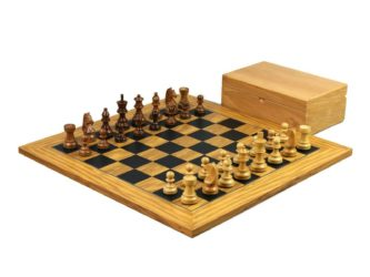 Executive Range Wooden Chess Set Olive Board 18″ Weighted Sheesham German Staunton pieces 3″