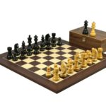 Executive Range Wooden Chess Set Macassar Board 20″ Weighted Ebonised German Staunton Pieces 3.75″
