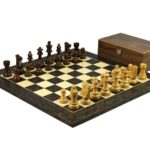Executive Range Wooden Chess Set Tiger Ebony Board 20″ Weighted Sheesham Staunton French Knight Pieces 3.75″