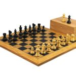 Executive Range Wooden Chess Set Olive Board 18″ Weighted Ebonised French Knight Pieces 3″