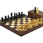 Executive Range Wooden Chess Set Macassar Board 20″ Weighted Ebonised Staunton French Knight Pieces 3.75″