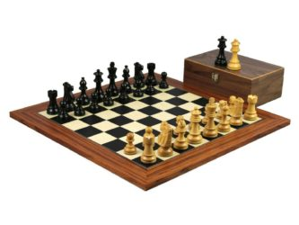 Executive Range Wooden Chess Set Palisander Board 20″ Weighted French Knight Pieces