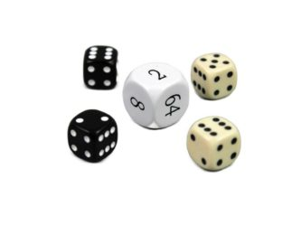 "Dice Set With Doubling Dice ""White"""