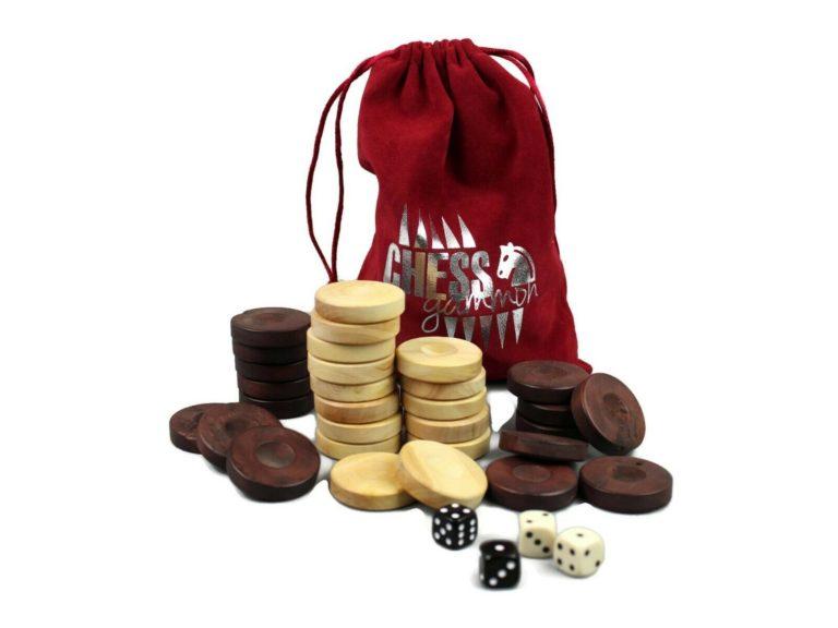 wooden backgammon pieces