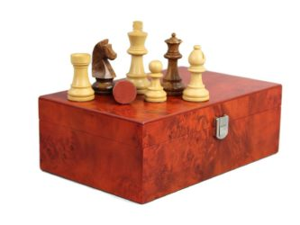 "Chess Pieces With Rosewood Storage Box ""Wooden Weighted"""
