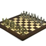 Metal Range Wooden Chess Set Macassar & Maple Board 20″ Roman Metal Pieces 3.8″