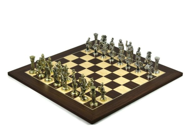 metal chess set macassar board