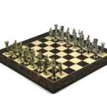 Metal Range Wooden Chess Set Tiger Ebony & Maple Board 20″ Roman Metal Pieces 3.8″
