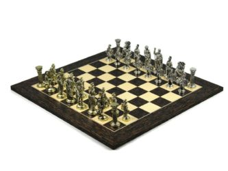 Executive Range Wooden Chess Set Tiger Ebony & Maple Board Metal Pieces 20″