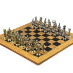Executive Range Chess Set Olive & Black Anegre Board Metal Chess Pieces 18″