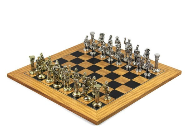 metal chess set olive and black anegre