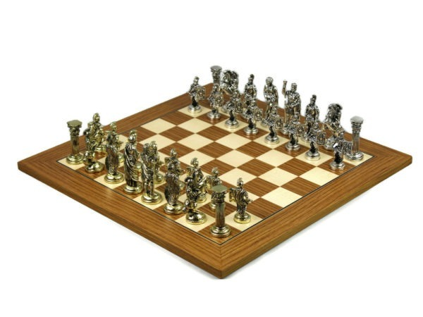 metal chess set teak board with metal pieces