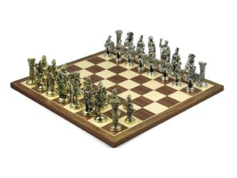 Executive Range Chess Set Walnut & Maple Board with Metal Chess Pieces 18″