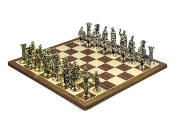 metal chess set walnut chess board roman chess pieces