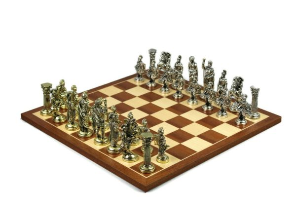 metal chess set mahogany 18 inch