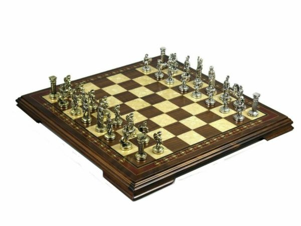 Walnut mother of pearl chess set with metal chess pieces roman