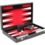 "Leather Range Backgammon Set ""Royal Red""- 18″"