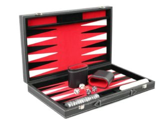 "Leather Range Backgammon Set ""Royal Red""- 15″"