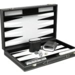 "Leather Range Backgammon Set ""Graphene Grey""- 18″"