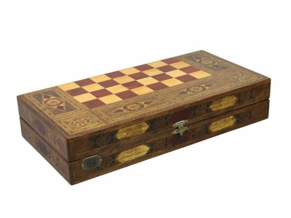 wooden backgammon board rustic
