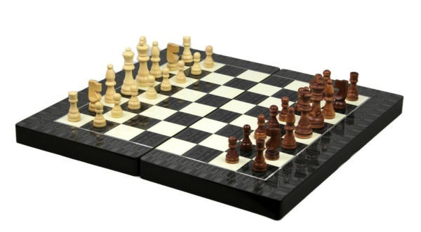chess and backgammon set black & white yenigun
