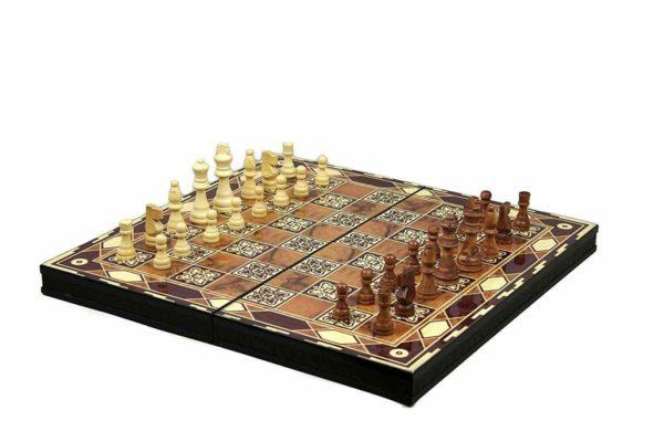 chess and backgammon board motif