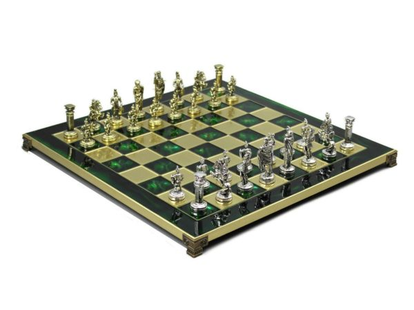 metal chess board emerald green