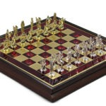 Metal Range Wooden Framed Chess Set Ruby Red 13″ – 303R