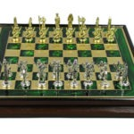 Metal Range Wooden Framed Chess Set Emerald Green 13″ – 303G
