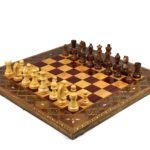 "Premium Range Chess Board With Wooden Pieces ""Burgundy"" – CRMD18″"