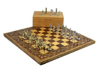 "Premium Range Chess Board With Metal Pieces ""Timber"" – CWMD18″"