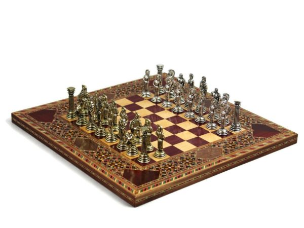 origin chess set with roman metal chess pieces