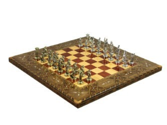 "Premium Range Chess Board With Metal Pieces ""Solar"" – CRWL17″"