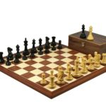 Executive Range Wooden Chess Set Mahogany Board 20″ Weighted Ebonised Professional Staunton Pieces 3.75″