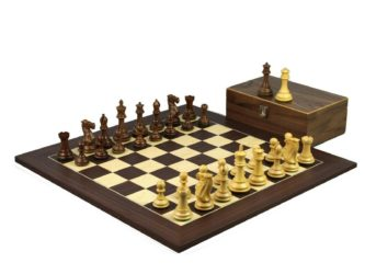 Executive Range Wooden Chess Set Macassar Board 20″ Weighted Sheesham Professional Staunton Pieces 3.75″