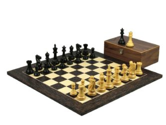 Executive Range Wooden Chess Set Tiger Ebony Board 20″ Weighted Ebonised Professional Staunton Pieces 3.75″