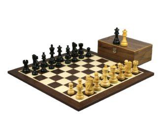 Executive Range Wooden Wenge Chess Set 19″ Weighted Ebonised Classic Staunton Pieces