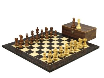 Executive Range Wooden Chess Set Tiger Ebony Board 20″ Weighted Sheesham Classic Staunton Pieces 3.75″
