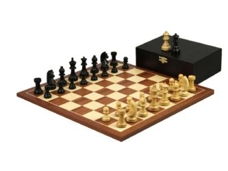 Executive Range Wooden Chess Set Mahogany Board 16″ Weighted Ebonised French Knight Pieces 3″