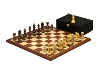 Executive Range Wooden Chess Set Mahogany Board 16″ Weighted Sheesham German Staunton Pieces 3″