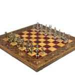 "Premium Range Chess Board With Metal Pieces ""Burgundy"" – CRMD18″"