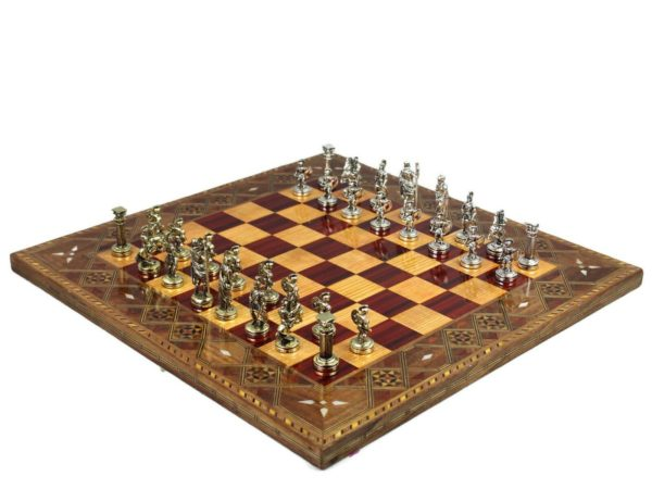 burgundy metal chess setroman metal chess pieces