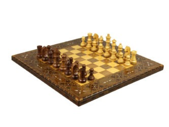 "Premium Range Chess Board With Wooden Pieces ""Lineage"" – CWWL17″"