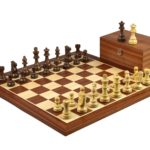 Executive Range Wooden Chess Set Mahogany Board 20″ Weighted Sheesham German Staunton Pieces 3.75″