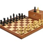Executive Range Wooden Chess Set Mahogany Board 20″ Weighted Ebonised Classic Staunton Pieces 3.75″