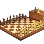Executive Range Wooden Chess Set Mahogany Board 20″ Weighted Sheesham Professional Staunton Pieces 3.75″